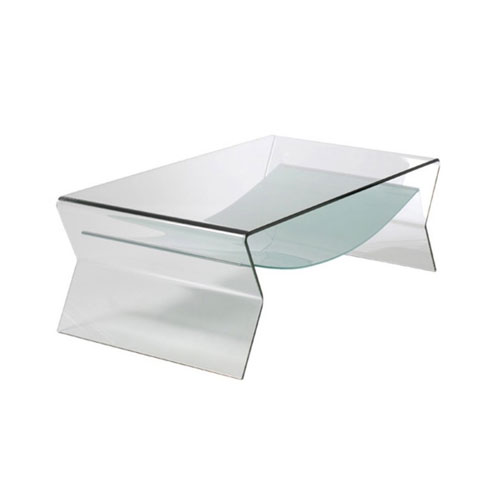 SOMERSET BENT GLASS COFFEE TABLE WITH SHELF