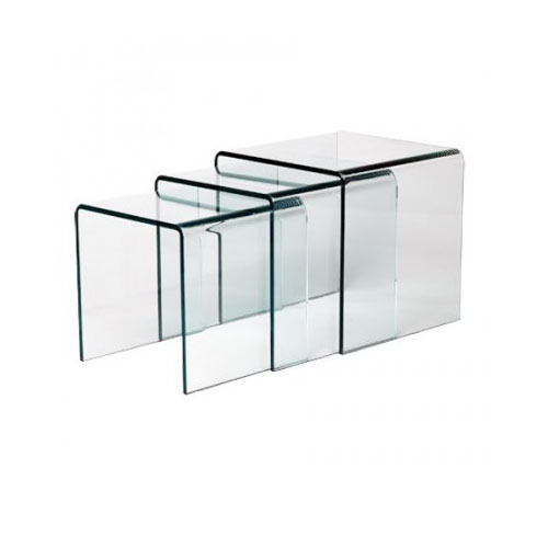 LILY BENT GLASS NESTING TABLE (SET OF 3)