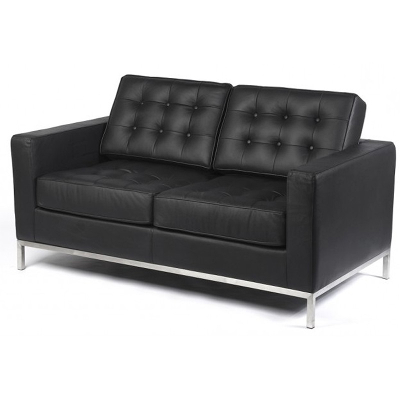 REPLICA FLORENCE KNOLL 2 SEATER SOFA (HALF LEATHER)