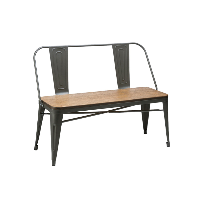 HANNA INDUSTRIAL STYLE BENCH WITH BACKREST