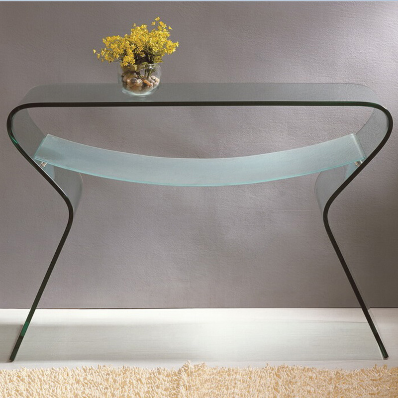 SOMERSET BENT GLASS CONSOLE TABLE WITH SHELF