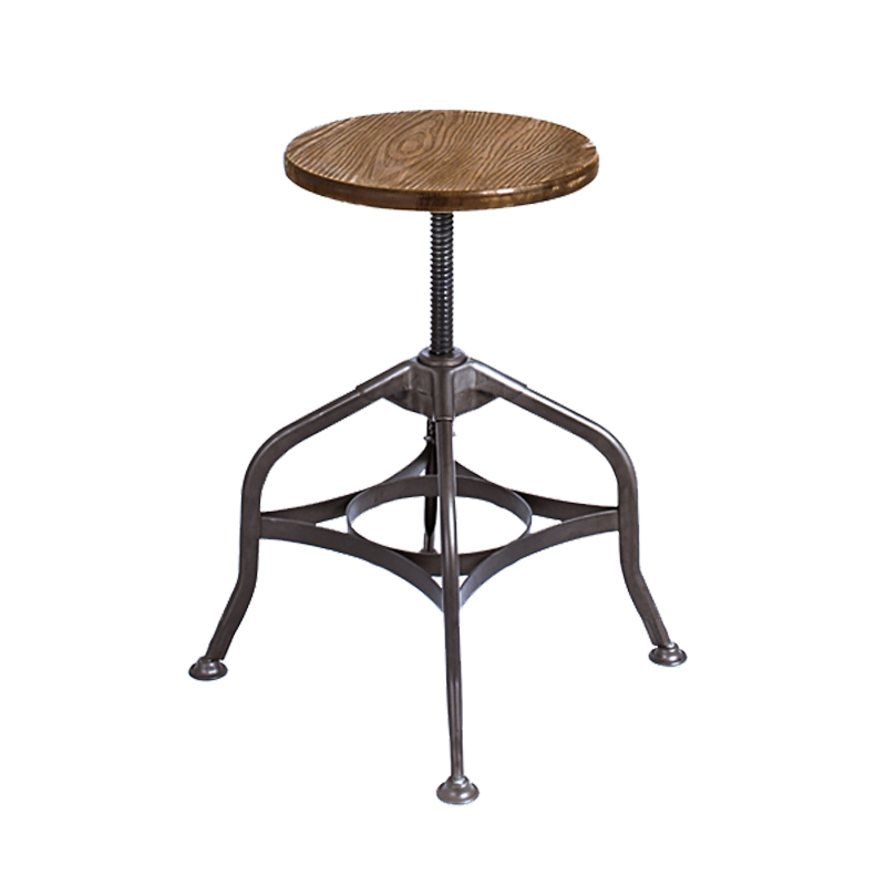 LUCIA WOOD SEAT VINTAGE INDUSTRIAL LOW STOOL