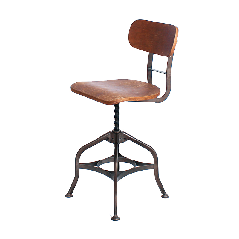 DEREK WOOD SEAT VINTAGE INDUSTRIAL COUNTER STOOL