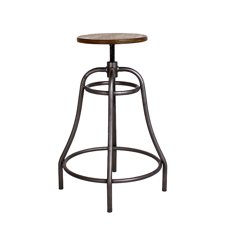 CITE WOOD SEAT VINTAGE INDUSTRIAL HEIGHT ADJUSTABLE STOOL