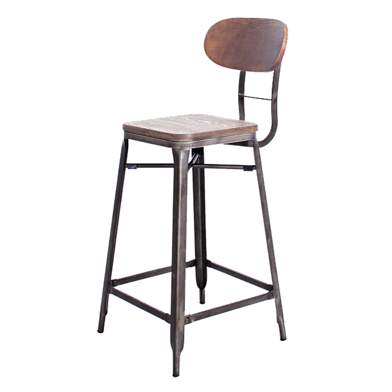 HANNA WOOD SEAT VINTAGE INDUSTRIAL BAR STOOL