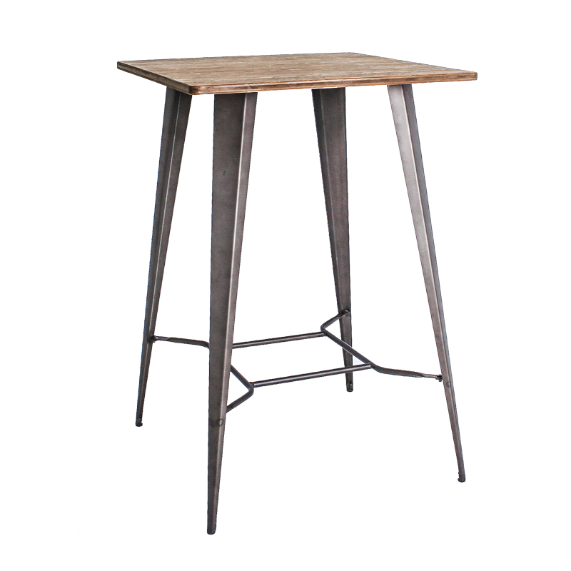 ERNIE INDUSTRIAL STYLE BAR TABLE (WOOD TOP)