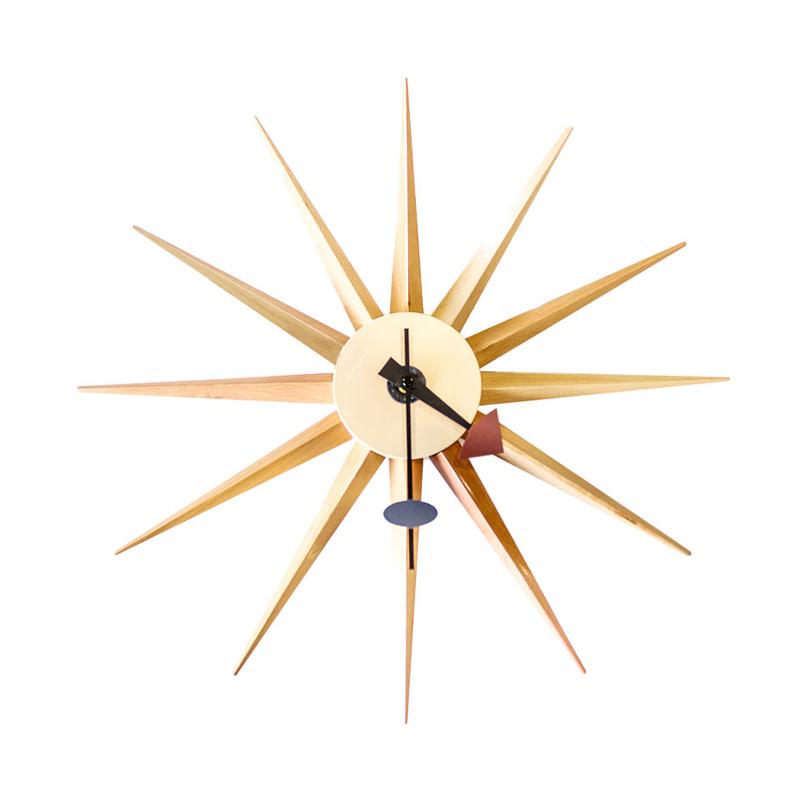STARBURST WOODEN CLOCK - WALL CLOCK