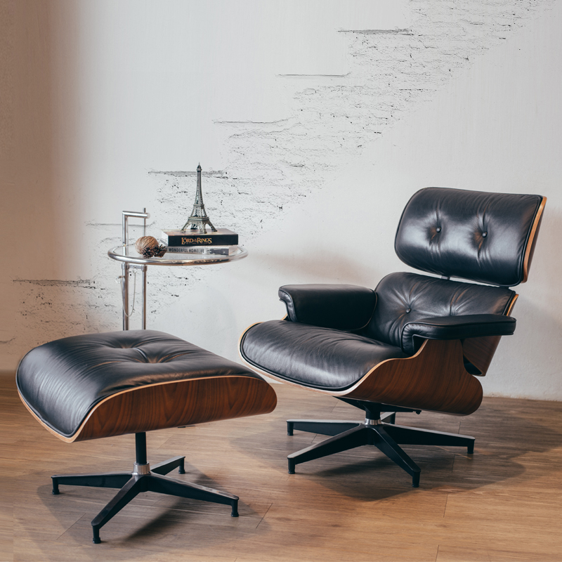 REPLICA EAMES LOUNGE CHAIR & OTTOMAN WITH SIDE TABLE