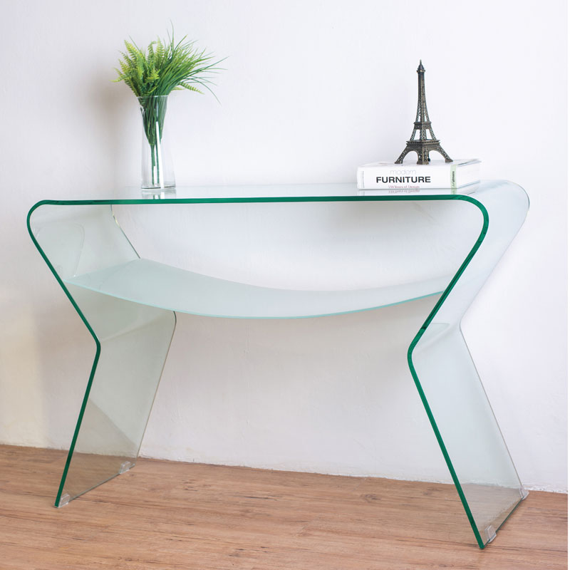 Somerset Bent Glass Console Table With Shelf Previous Next