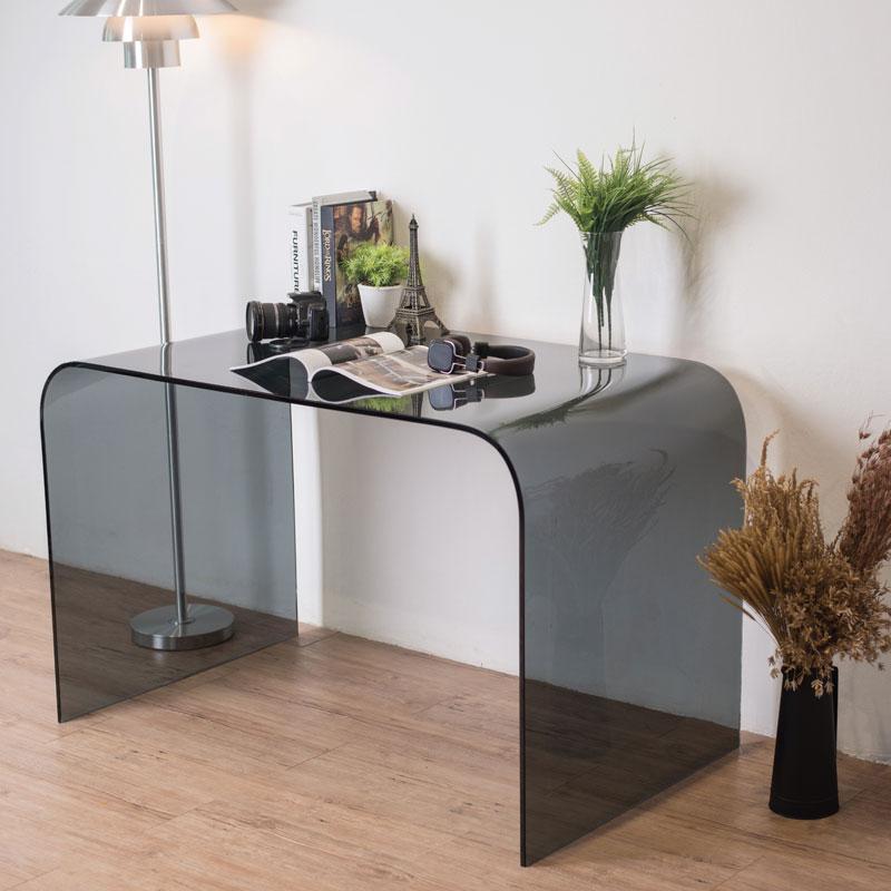 Chicago Bent Glass Desk Smoked Grey Previous Next