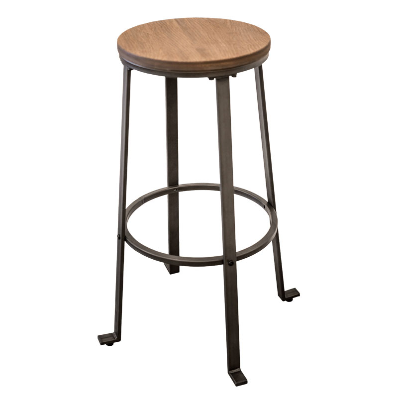 TRINA WOOD SEAT VINTAGE INDUSTRIAL BAR STOOL