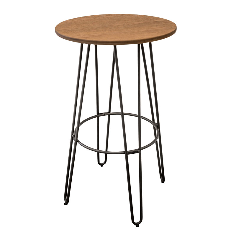 HOLDEN WOOD TOP VINTAGE INDUSTRIAL BAR TABLE