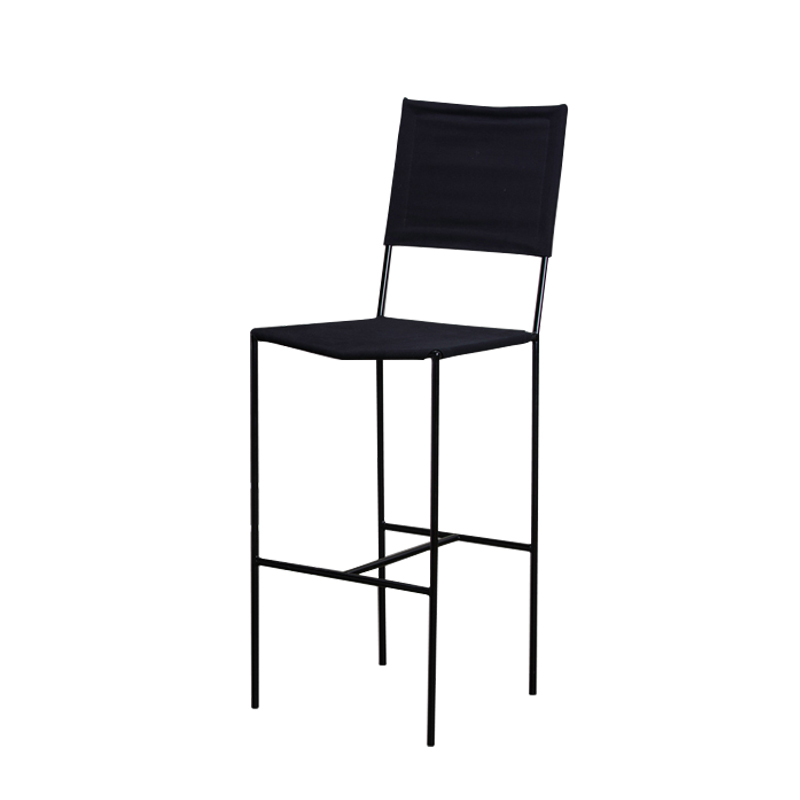 ROUNDIRON – BAR CHAIR (BLACK CANVAS / PVC)