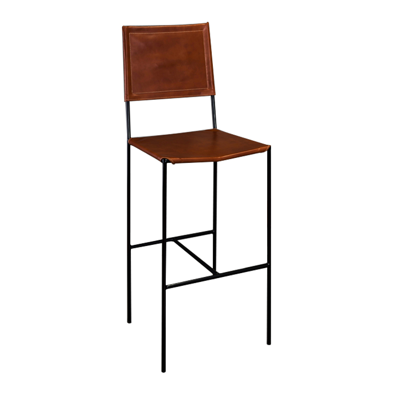 ROUNDIRON – BAR CHAIR (BROWN LEATHER)