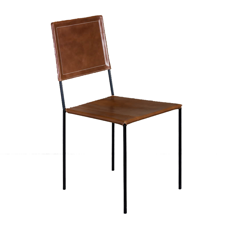 ROUNDIRON CHAIR (BROWN LEATHER)