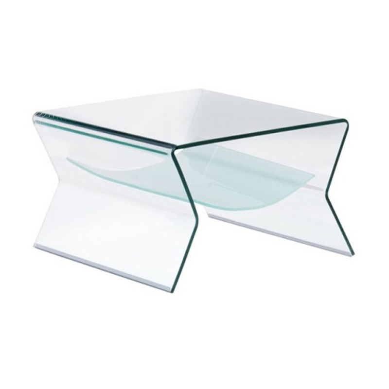 SOMERSET BENT GLASS SIDE TABLE WITH SHELF