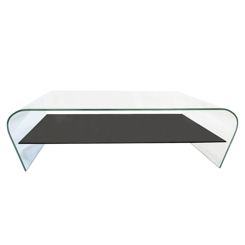 MIDWAY BENT GLASS COFFEE TABLE WITH SHELF