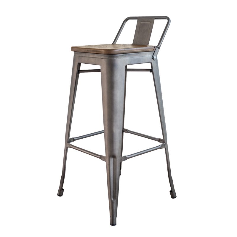 REPLICA LOW BACK REST WOOD SEAT TOLIX BAR STOOL