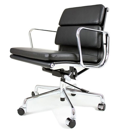 REPLICA EAMES LOW BACK OFFICE CHAIR - SOFT PAD (FULL LEATHER)