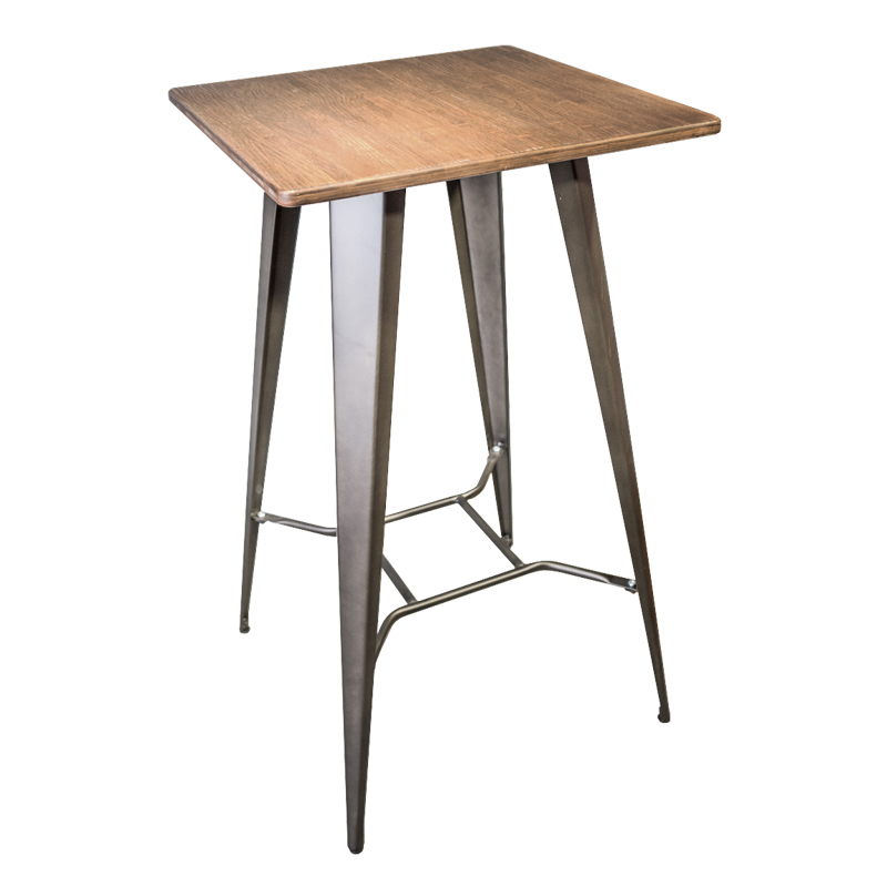RILEY INDUSTRIAL STYLE BAR TABLE (WOOD TOP)